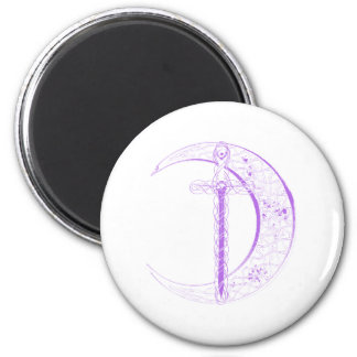 Celtic Sword and Celtic Moon Purple Refrigerator Magnets