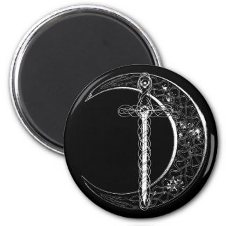 Celtic Sword and Moon (white) 6 Cm Round Magnet