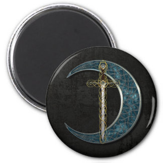 Celtic Sword and Moon with Grunge Wall 6 Cm Round Magnet