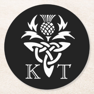Celtic Thistle Initials - Black & White Round Paper Coaster