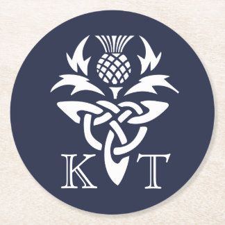 Celtic Thistle Initials - Navy Round Paper Coaster