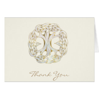 Celtic Tree of Life Gold Thank You Card