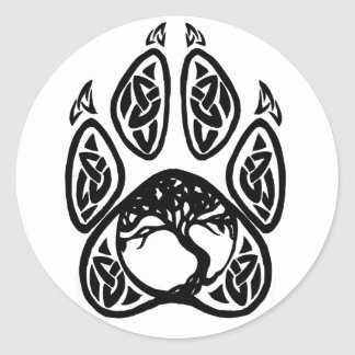 Celtic Tree of Life Paw Classic Round Sticker