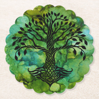Celtic Tree of Life Symbol on Ink Painting Paper Coaster