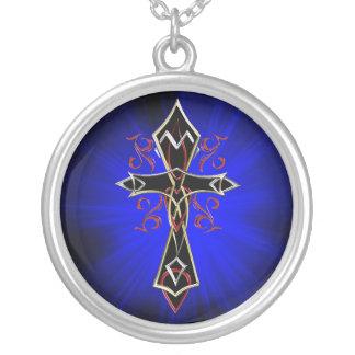 Celtic Tribal Cross Round Pendant Necklace