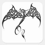 Celtic Tribal Dragon Square Stickers