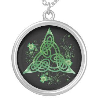 Celtic Trinity Clovers Round Pendant Necklace
