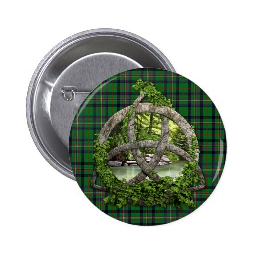 Celtic Trinity Knot And Clan Kennedy Tartan Buttons