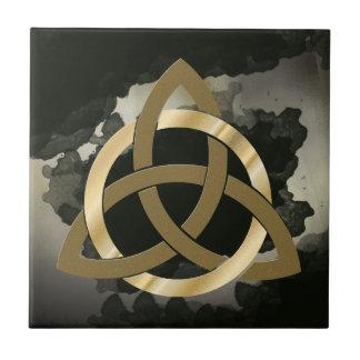 Celtic Trinity Knot Golden Circled Vintage Black Small Square Tile