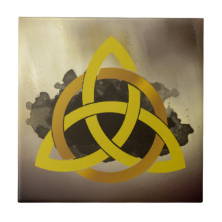 Celtic Trinity Knot Golden Circled Vintage Small Square Tile