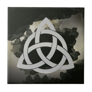 Celtic Trinity Knot Metal Circled Vintage Black Small Square Tile