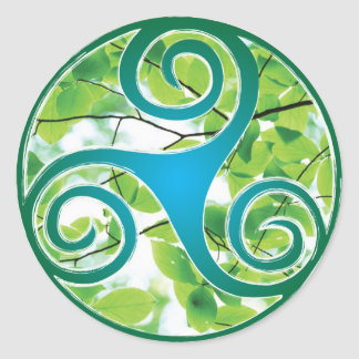 Celtic Triskele Green Leaf Classic Round Sticker
