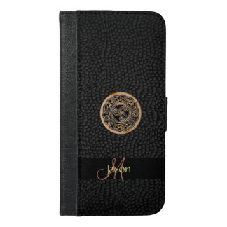 Celtic Triskele on Black Faux Leather Wallet Case