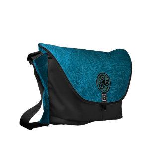 Celtic Triskele on Blue Leather Look Messenger Bag