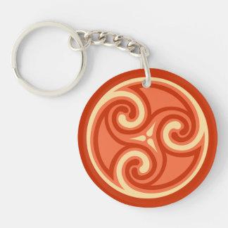 Celtic Triskele Ornament, Mandarin Orange Key Ring