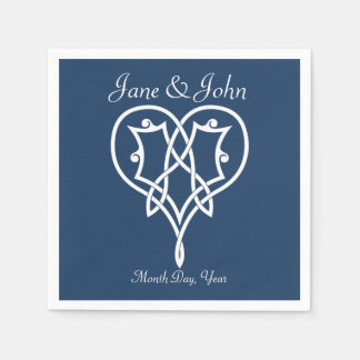 Celtic Weave Hearts in Navy Napkins Disposable Serviettes