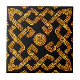Celtic Weave Tiger Pattern Ceramic Tile