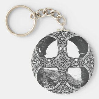 Celtic window arch tattoo basic round button key ring