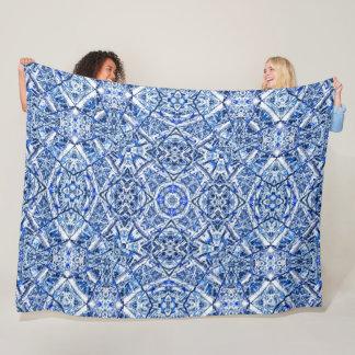 Celtic Winter Stained Glass Ice Mandala Quilt Fleece Blanket