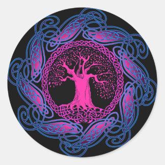 Celtic Wisdom Tree (Ultra Violet version) Classic Round Sticker