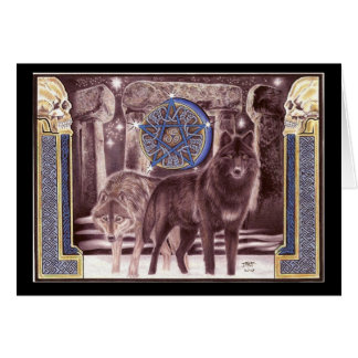 Celtic Wolf Magic Greeting Card
