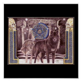 Celtic Wolf Magic Poster