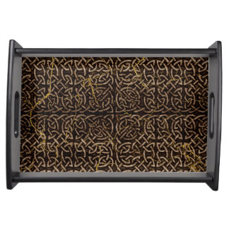 Celtic Wood Pattern with Gold Marble Serving Tray