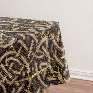Celtic Wood Pattern with Gold Marble Tablecloth