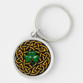 Celtic Wreath and Shamrock Silver-Colored Round Key Ring
