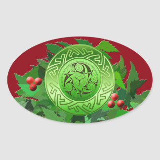 Celtic Yule Spiral with Holly Oval Sticker