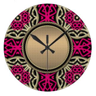 Celtica Hot Pink & Gold Wall Clock