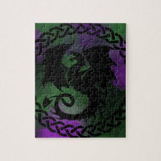 CelticCircleDragonPurpleGreen Jigsaw Puzzle