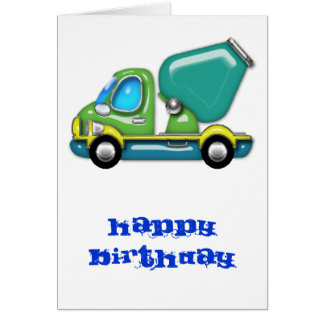 Cement Truck in Blue Green and Yellow Greeting Card