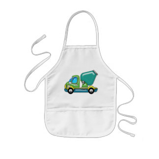 Cement Truck in Blue Green and Yellow Kids Apron