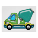 Cement Truck in Blue Green and Yellow Print