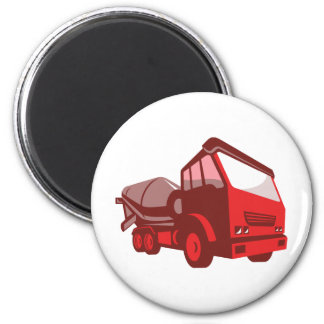 cement truck lorry retro style 6 cm round magnet