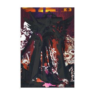Cemetary Angel and skulls Canvas Print