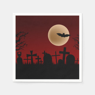 Cemetery Halloween Party Paper Napkins