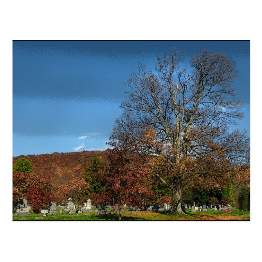 Cemetery in Autumn Post Cards
