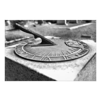 Cemetery Sundial in Black and White Photograph
