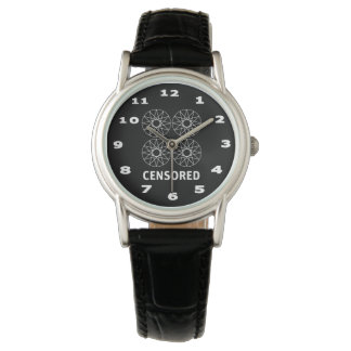 Censored Women's Classic Black Leather Watch