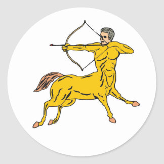 Centaur Bow Arrow Mythical Figure Classic Round Sticker
