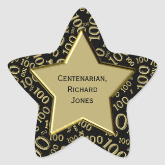Centenarian 100th Birthday Black and Gold Star Star Sticker