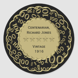 Centenarian 100th Birthday Black and Gold Theme Classic Round Sticker