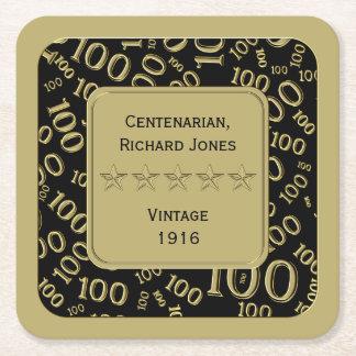 Centenarian 100th Birthday Black and Gold Theme Square Paper Coaster