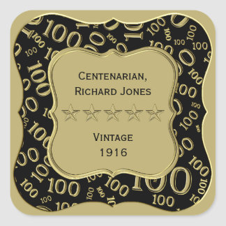 Centenarian 100th Birthday Black and Gold Theme Square Sticker