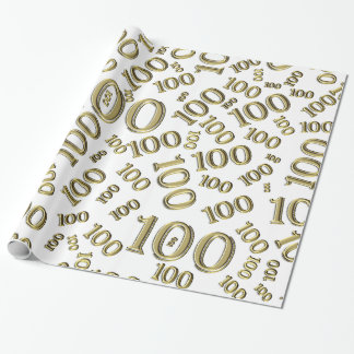 Centenarian 100th Birthday Party  Gold/White Theme Wrapping Paper