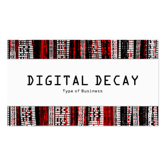 Center Band - Digital Decay - Red Business Card Template