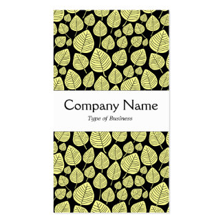 Center Band - Leaves - Chalk Yellow on Black Double-Sided Standard Business Cards (Pack Of 100)