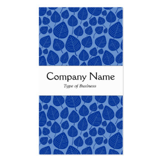 Center Band - Leaves - Navy Blue on Blue 6b95d0 Double-Sided Standard Business Cards (Pack Of 100)